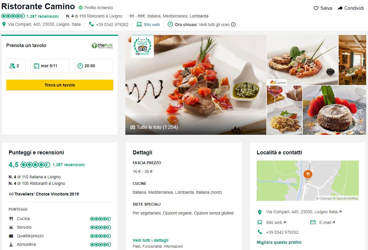 Classifica Cucine Qualità Prezzo il ristorante camino premiato da tripadvisor con un 2° posto